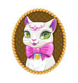 cute white kitty princess portrait vector image vector image