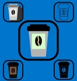 Disposable coffee cup icons set vector image