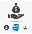 Dollar and hand sign Palm holds money bag vector image vector image