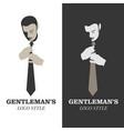 elegant man with mustache wearing a tie gentleman vector image vector image