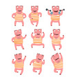 flat set of pink humanized pig in different vector image vector image