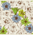 floral design in retrol colors seamless pattern vector image