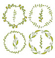 frames with cute leaves spring decoration for vector image vector image