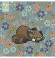 Funny little raccoon sleeping in a meadow vector image vector image