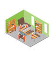 furniture makers at work and interior with vector image vector image