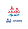 golden gate bridge icon san francisco bridge thin vector image