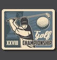 golf club championship sport game cup tournament vector image vector image