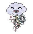 grated happy cloud kawaii with stars rainbow vector image