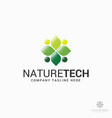 green leaf - nature technology logo template vector image vector image