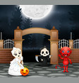 happy halloween party with group of children in di vector image
