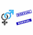 heterosexual symbol mosaic and scratched rectangle vector image vector image