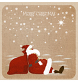 Holidaymaker Santa Claus with red bag for presents vector image vector image