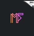 initial mf logo monogram design template simple vector image vector image