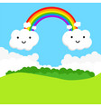 landscape with rainbow and funny clouds vector image vector image