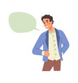 man and empty speech bubble communication chat box vector image vector image