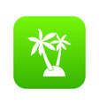 palm trees icon digital green vector image