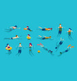 people swimming and diving in sea or pool vector image vector image