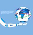 robot hand holding world globe vector image
