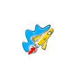rocket cloud logo design template vector image