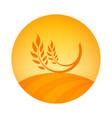 round logo emblem of wheat harvest - label vector image