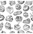 seamless background of the various cakes sketches vector image