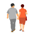 senior couple in love hold hands and walking vector image vector image