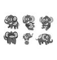 set cute dark gray elephants vector image vector image