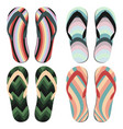 set of beach slippers vector image vector image