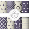 set of marine and nautical backgrounds - patterns vector image