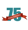 Seventy Five 75 Years Anniversary Label Sign for vector image