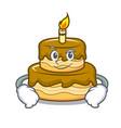 smirking birthday cake character cartoon vector image