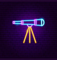 telescope neon label vector image