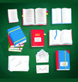 top view set of books and notepads vector image vector image