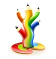 tree of colour pencils vector image vector image