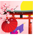 umbrella sakura japanese gate sunset background ve vector image