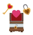 valentine day wooden box heart key and lock vector image