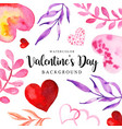 watercolor valentine elements background vector image vector image