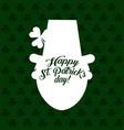 white silhouette leprechaun hat clover st patricks vector image