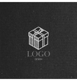 With isometric gift box on cardboard texture Logo