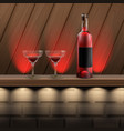 wooden shelf with alcohol vector image