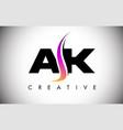 ak letter logo design with creative shoosh