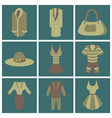 assembly flat icons fashion clothes vector image