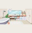 bathroom interior cartoon toilet room with vector image