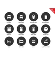 Beds and furniture icons on white background vector image