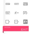 black exit icon set vector image