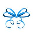 blue bow thin tied ribbon vector image vector image