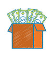box open with bills dollar vector image vector image