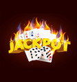 burning casino poker cards and dices online vector image