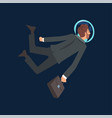 businessman in black suit and astronaut helmet vector image vector image