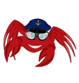 Cartoon of the crab in service cap and spectacles vector image vector image